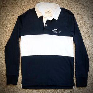 Hollister Navy & White Long Sleeve Top